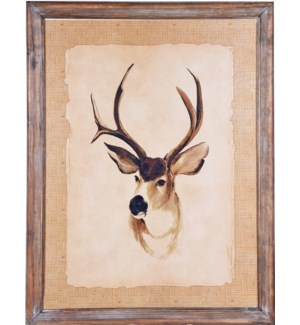 Rustic Framed Deer Picture OS