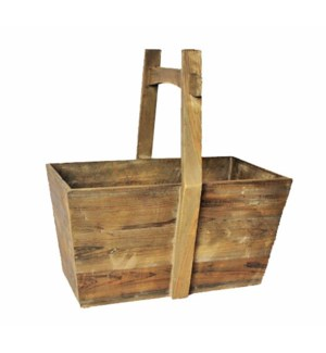 Rustic Wood Basket w/Handle 24x14x26 inches *Made from very old recycled wood for best rustic effect