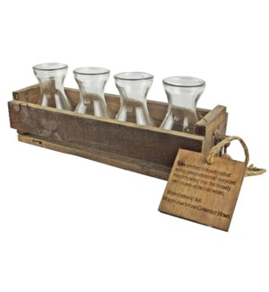 Rustic Wood Crate w/4 Glass Va