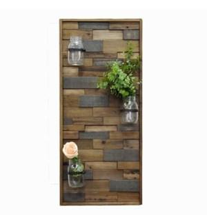 Wooden Wall Vase Panel