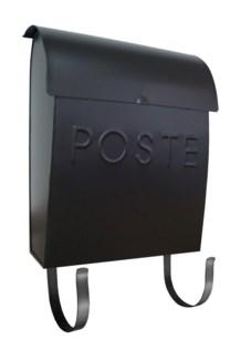 black Euro mailbox POSTE. Brackets included. 11 X 4 X 13