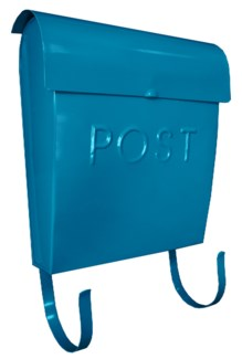 Euro Post Mailbox, Turquoise, 11 x 4.5 x 12 in