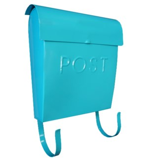 Euro Post Mailbox, Light Turquoise, 11 x 4.5 x 12 in