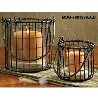 Black Candle Basket Large, candle not included, 6 D x 8inch