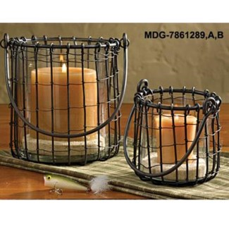 Black Candle Basket Small, candle not included , 4.5 D x 6