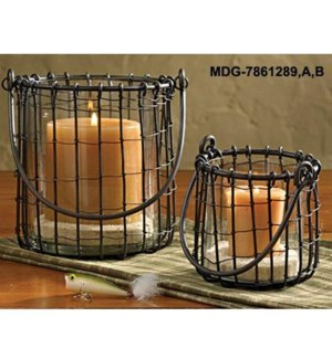 """""""Black Candle Basket Large, candle not included, 6 D x 8inch"""""""