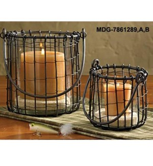 """""""Black Candle Basket Small, candle not included , 4.5 D x 6"""""""