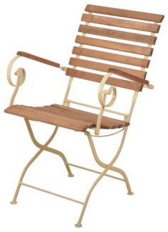 Foldable chair wood/metal/cream. Steel, beech wood. 56,8x64,0x90,0cm. oq/1,mc/1 Pg.109    *Cushion