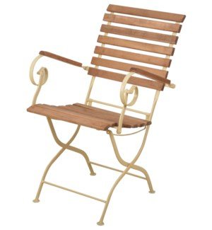 Foldable chair wood/metal/crea