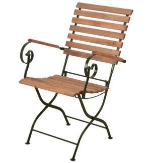 Foldable chair wood/metal/gree
