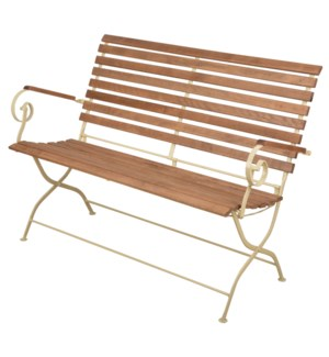 Foldable bench wood/metal/cream. Steel, beech wood. 132,0x63,5x88,8cm. oq/1,mc/1 Pg.109    *Cushio