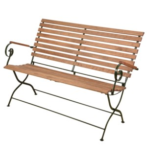 Foldable bench wood/metal/green. Steel, beech wood. 132,0x63,5x88,8cm. oq/1,mc/1 Pg.109    *Cushio