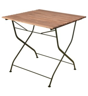 Foldable table wood/metal/green. Steel, beech wood. 78,4x78,0x77,0cm. oq/1,mc/1 Pg.109