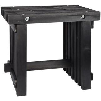 Stool wood black -  19.7x12.8x17.9in.