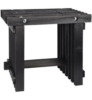 Stool wood black -  19.7x12.8x17.9in.