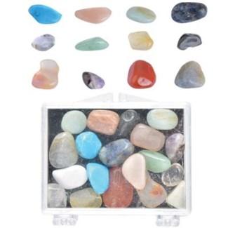 Minerals polished/mixed in box. Real minerals. 5,6x5,3x2,1cm. oq/48,mc/192 - FD