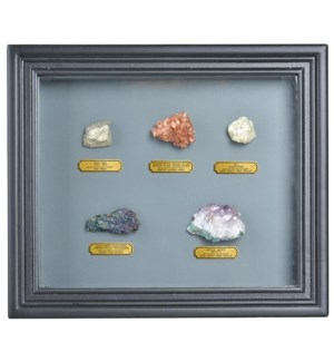 Minerals collection in frame.