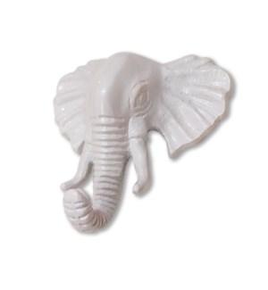 """""""WALL HOOK ELEPHANT, WHITE POWDER COATED"""""""