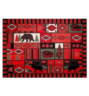 """Rockon Woven Carpet, 4x6 feet, Red"""