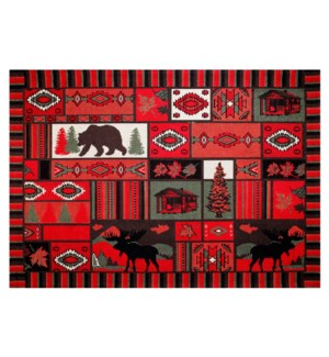 Rockon Carpet, Red, 5x8, 100% Cotton, Machine Woven, Made in India