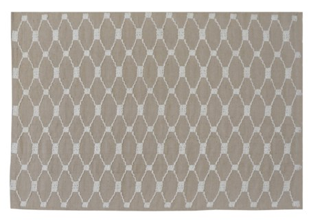 Lattice Carpet, Beige, 4x6ft, 48 x 72 inches, 100 % Cotton, machine woven, 200gm/sqf India