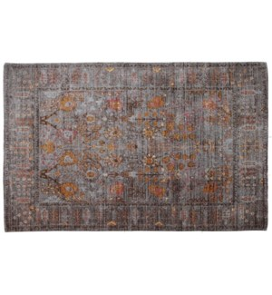 Dyna Grey Gold Carpet 8x10,100% Cotton, Machine Woven, Made in India