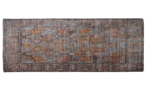 Dyna Grey Gold Carpet Runner 2x7,100% Cotton, Machine Woven, Made in India
