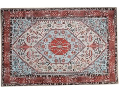 Heriz Multi-Coloured Carpet 8x10,100% Cotton, Machine Woven, Made in India