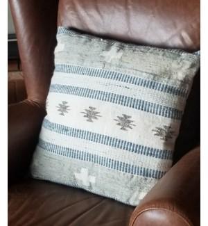 """CUS-34 Hand Woven Wool Cushion, 17.7x17.7in, Beige/White"""