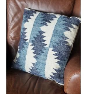 """""""CUS-NVC11 Hand Woven Wool Cushion, 17.7x17.7in, Blue"""""""