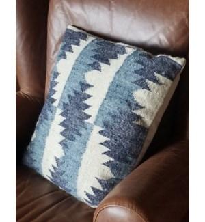 """""""CUS-NVC11 Hand Woven Wool Cushion, 19.7x19.7in, Blue"""""""