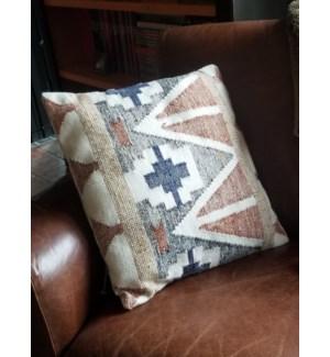 """CUS-11 Hand Woven Wool Cushion, 19.7x19.7in, Rust/Ivory"""