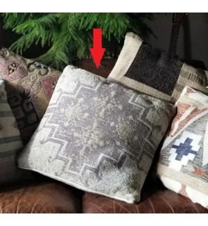 """""""Kilim05 Woven Cushion, 23.6x23.6in, Beige Grey"""""""