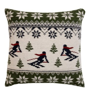 """""""Nordic Skiers Woven Cushion, 23.6x23.6in, Green"""""""