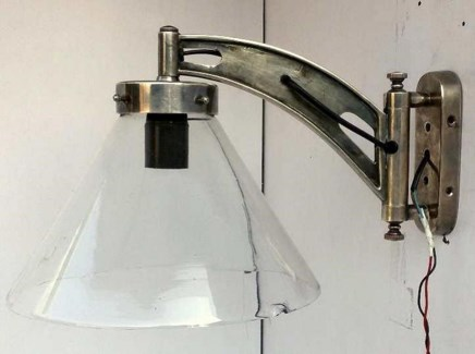 Wall Lamp. Glass. Brass with Antique Silver Finish. 9.9x15.75x12.6inch
