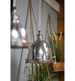 Hopkins Hanging Lamp. Brass with Antique Silver Finish. 7Dx31.5inch