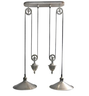 Langley Hanging Lamp Double. Antique Silver Finish. Solid Brass. 18x11.5x35