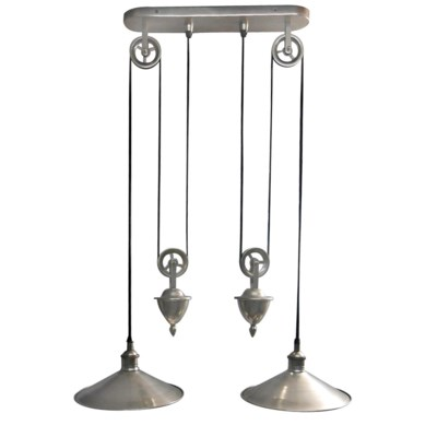 Langley Hanging Lamp Double Antique Silver Finish Solid