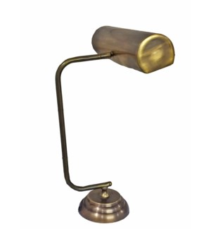 Norman Desk Lamp, Vintage Clerk Style, Antique Brass, 18.1 Height x 5.1 Base