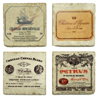 Famous Wine Series Set/4 Marble Coasters 4x4 in