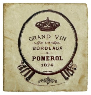 GRAND VIN POMEROL Set/4 Marble Coasters 4x4 in.