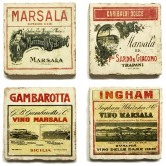 Marsala Series Set/4 Marble Coasters 4x4 in