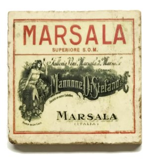 MARSALA Set/4 Marble Coasters 4x4 in