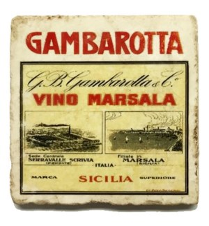 GAMBAROTTA Set/4 Marble Coasters 4x4 in