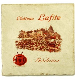 LAFITE Set/4 Marble Coasters 4x4 in