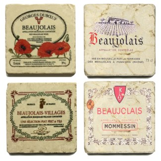 Beaujolais Series Set/4 Marble Coasters 4x4 in