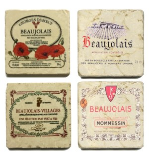 Beaujolais Series Set/4 Marble Coasters 4x4 in