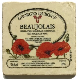 GEORGES DUBOEUF Set/4 Marble Coasters 4x4 in