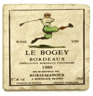LE BOGEY Set/4 Marble Coasters 4x4 in.