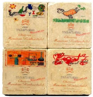 Mouton Rothschild Series Set/4 Marble Coasters 4x4 in.